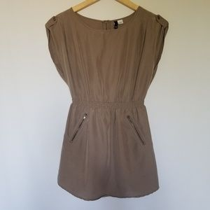 H&M long shirt short dress elastic waist taupe 4